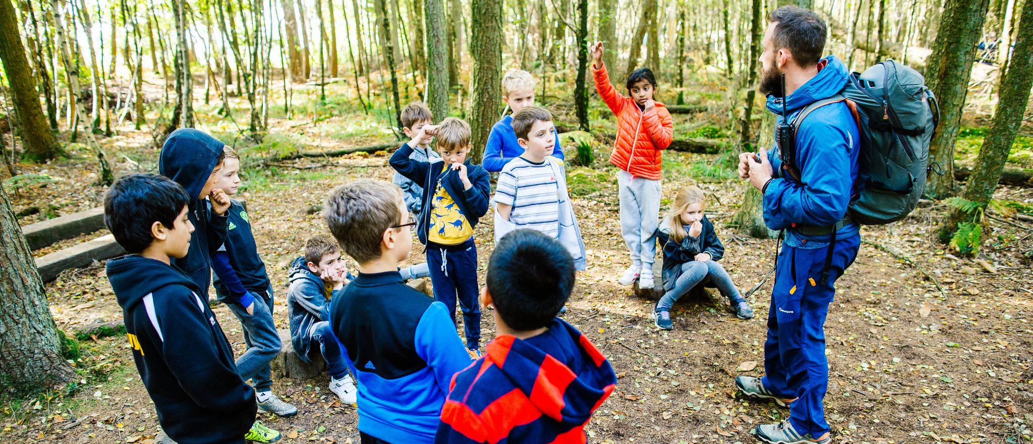 Children on team building activity
