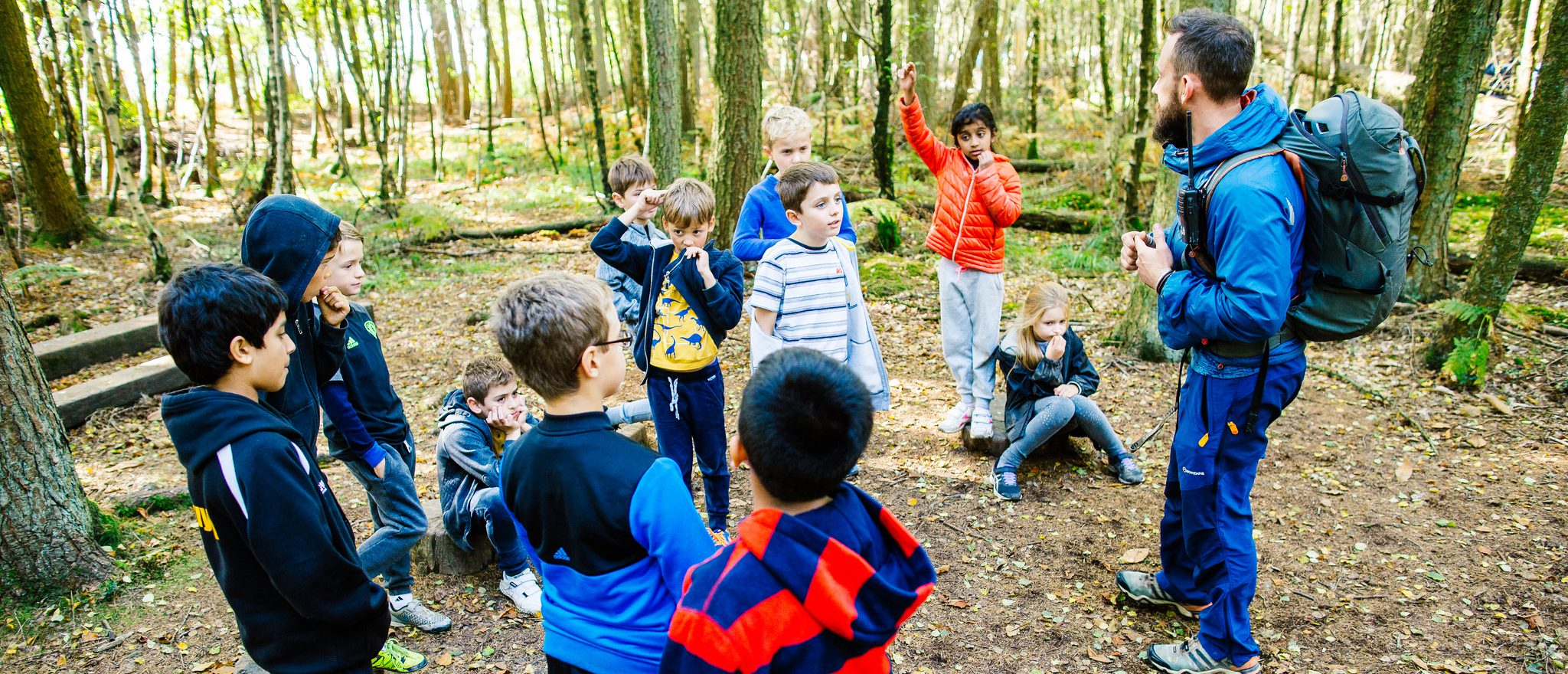 Children on team building activity
